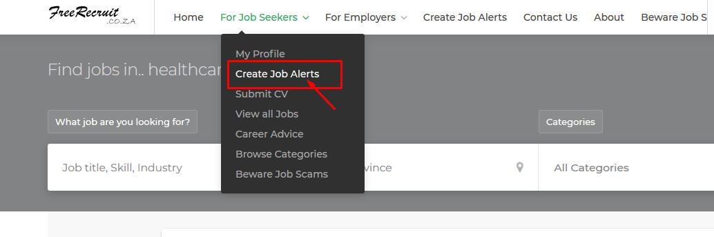 Job seekers can create Create Job Alerts at freerecruit co za
