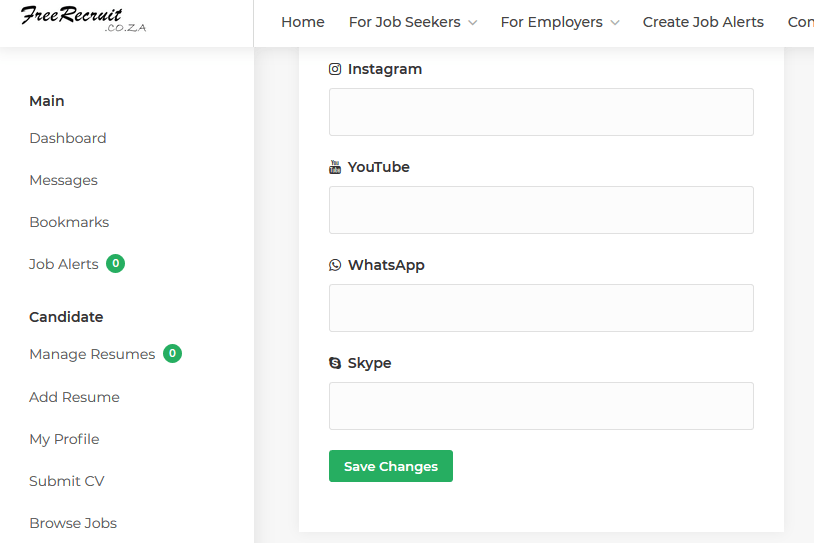 Create a online profile at freerecruit.co.za and find the best jobs