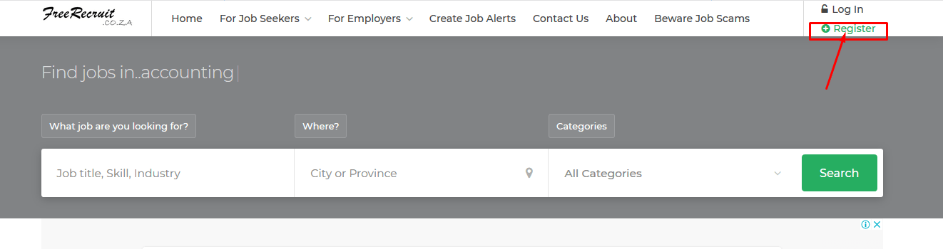 How to register with freerecruit.co.za